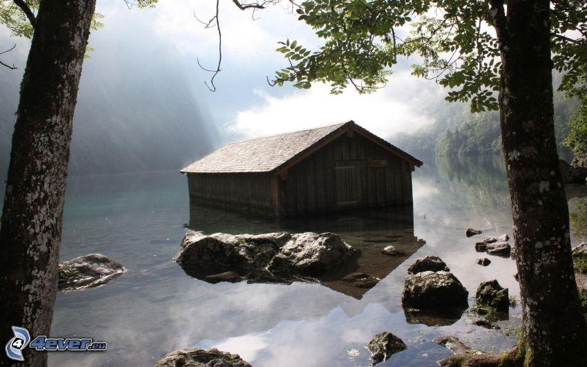 cabaña, agua, lago