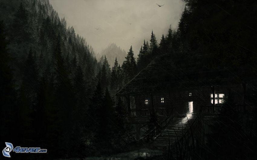 cabaña, noche, lluvia, bosque