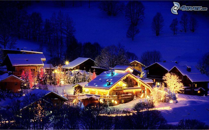 cabañas nevadas, noche