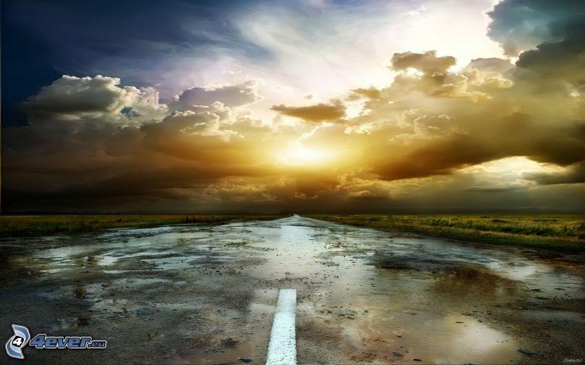 camino recto, puesta de sol sobre la carretera