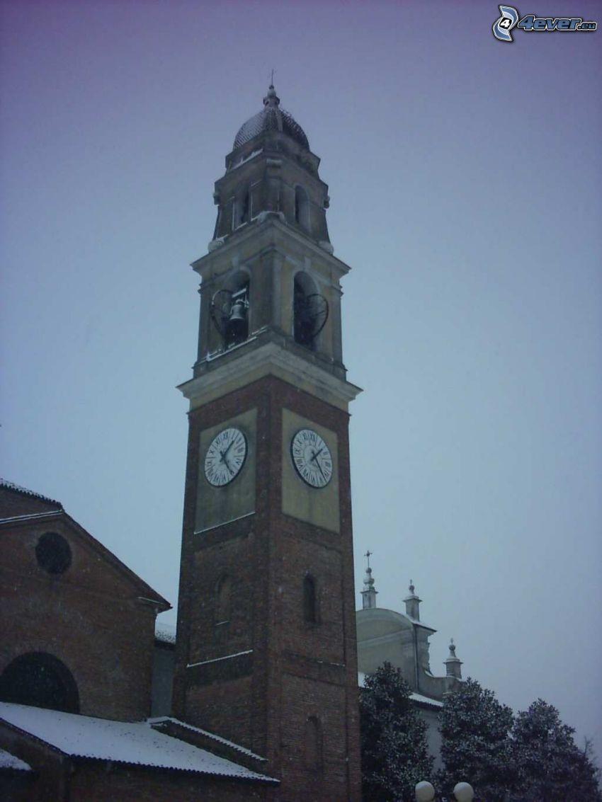campanario, torre, tiempo