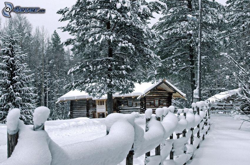 casa de campo cubierto de nieve, árboles nevados, cerco de madera