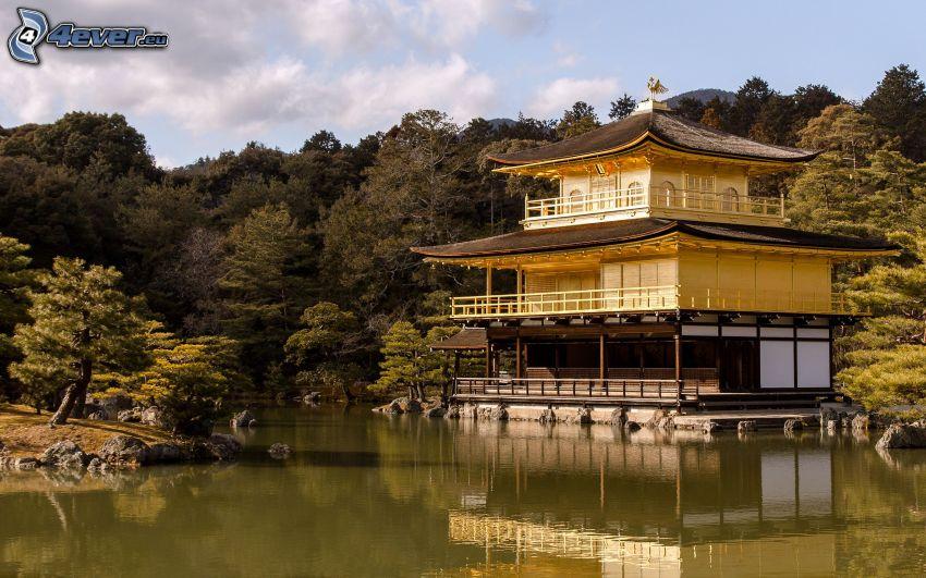 casa Japonés, bosque, lago