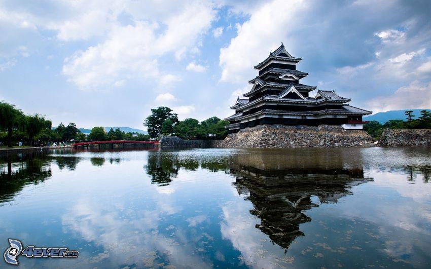 casa Japonés, lago, reflejo