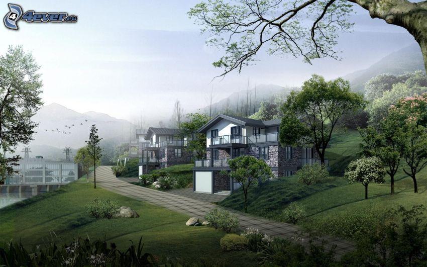 casas, acera, árboles