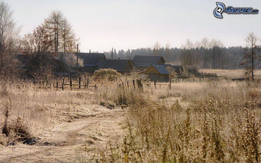 casitas, camino, hierba seca