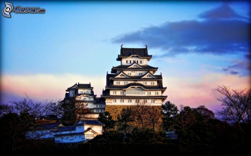 castillo, Japón, puesta del sol