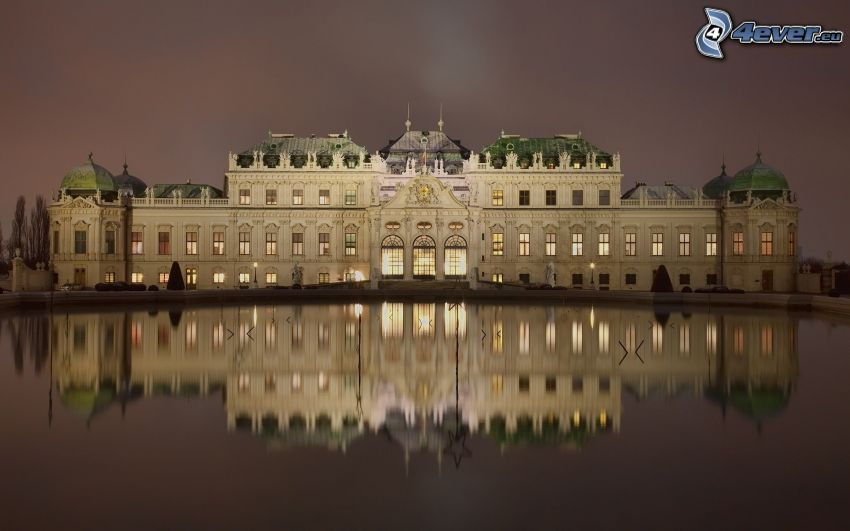 Castillo Belvedere, Viena, Austria, agua, reflejo, atardecer
