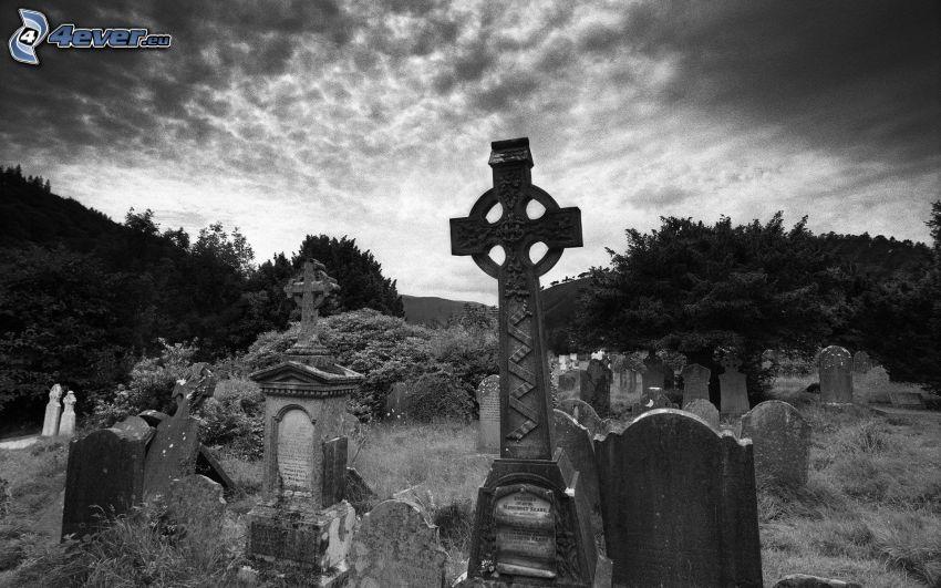 cementerio, Foto en blanco y negro