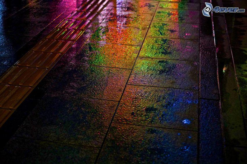 acera, pavimento, colores, noche