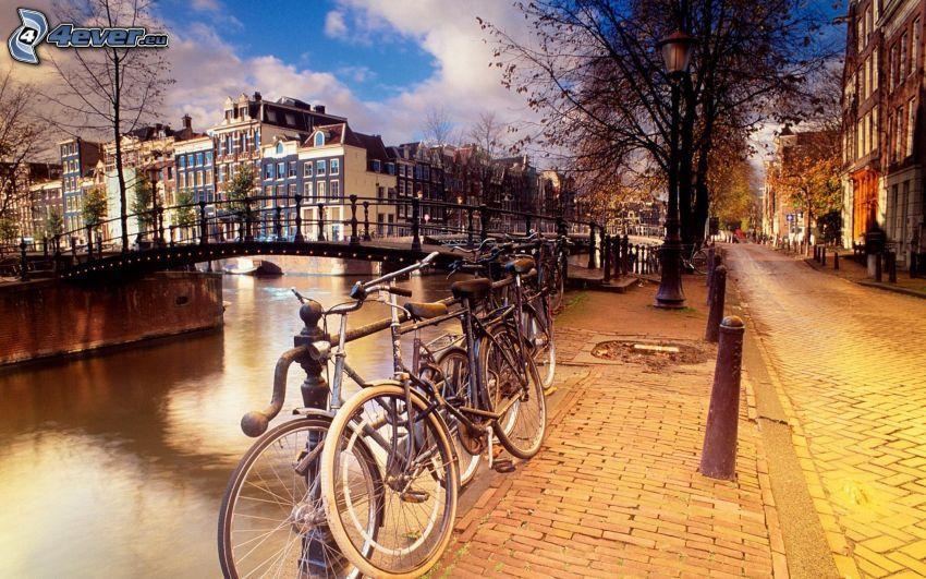 Amsterdam, bicicletas, puente
