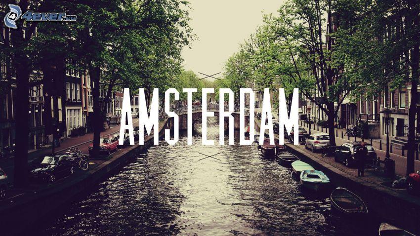 Amsterdam, río, calle