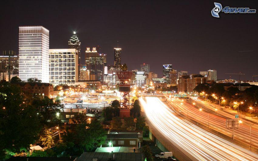 Atlanta, ciudad de noche, carretera en noche, luces