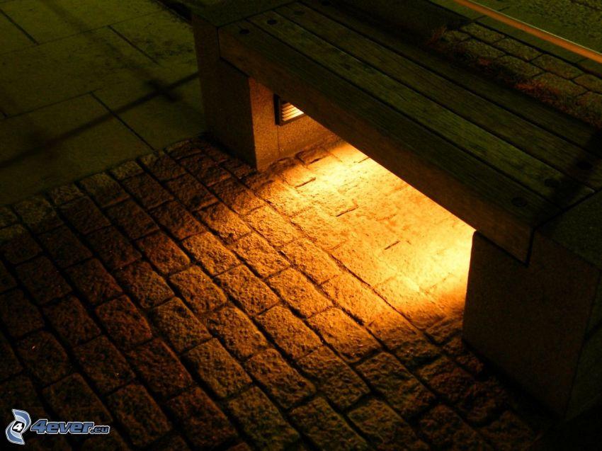banco, luz, pavimento