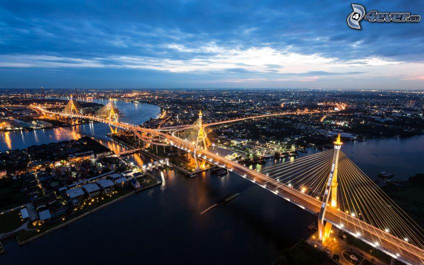 Bangkok, puente, Ciudad al atardecer