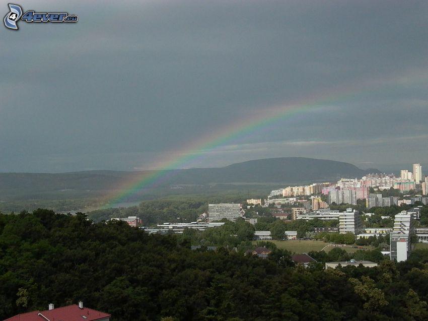 barrio residencial, casa prefabricada, arco iris, Bratislava, bosque