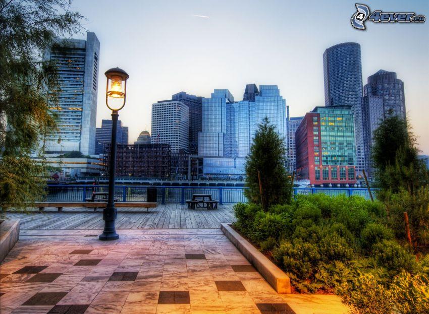 Boston, lámpara de calle, atardecer