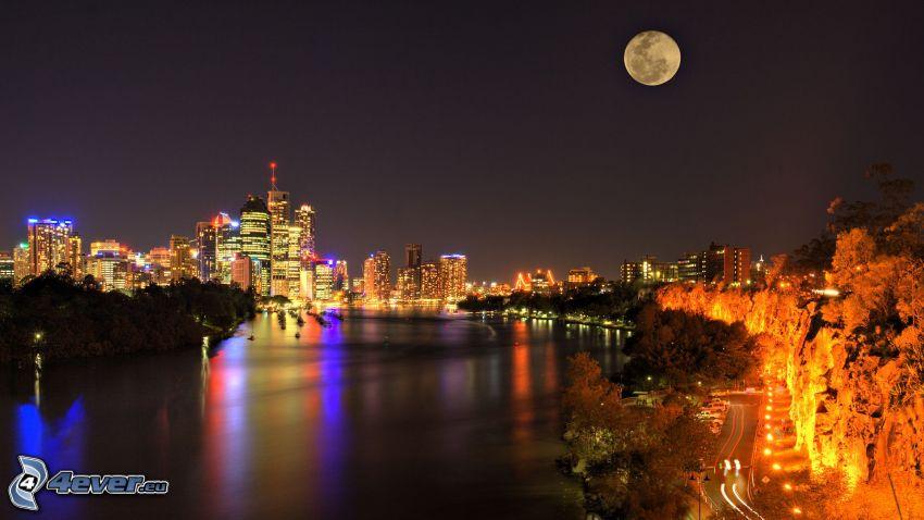 Brisbane, ciudad de noche, Luna