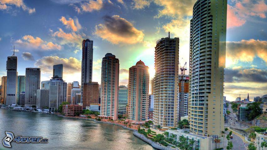 Brisbane, rascacielos, puesta de sol en la ciudad, HDR