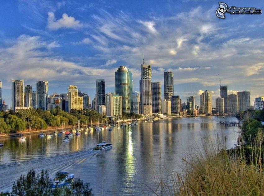 Brisbane, río, barco, rascacielos