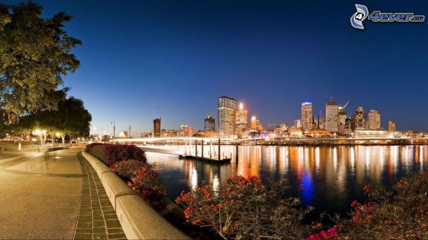 Brisbane, río, Ciudad al atardecer