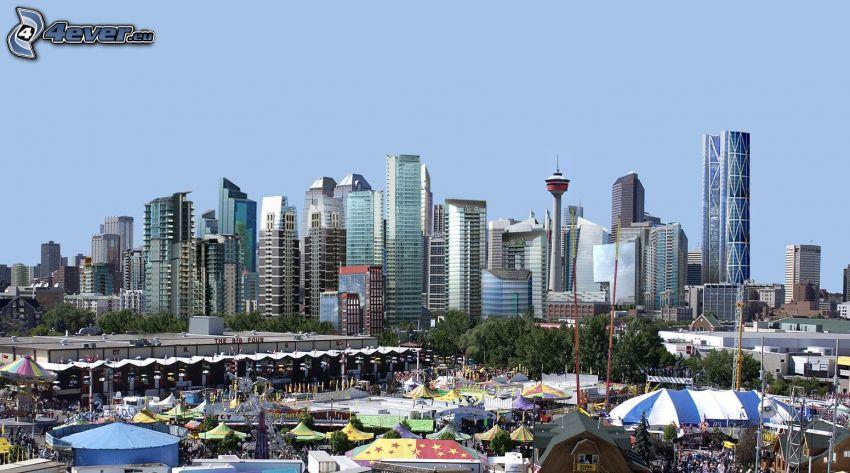 Calgary, rascacielos, mercado