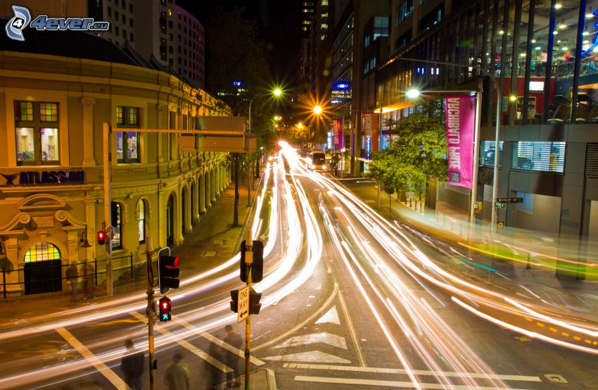 calle, ciudad de noche, luces