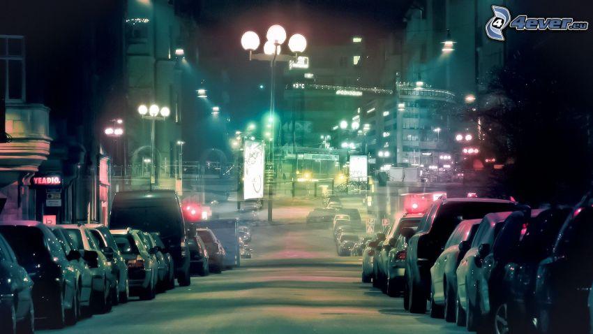 calle, luces, ciudad de noche, coches