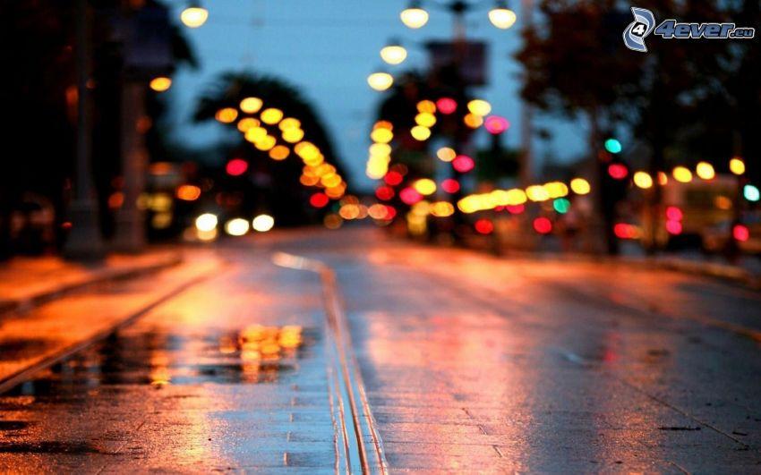 calle iluminada, luces