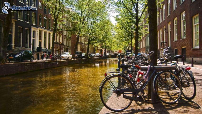 canal, bicicletas, Amsterdam