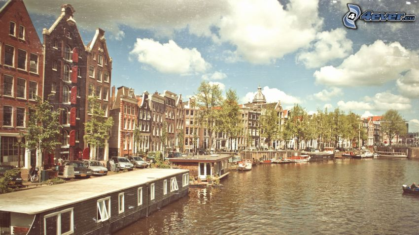 canal, casas, naves, Amsterdam