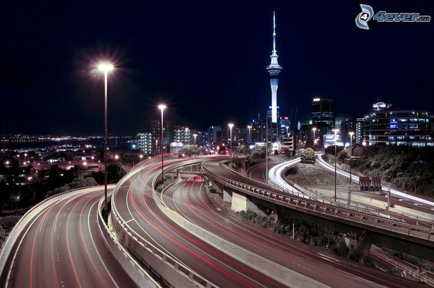 carretera en noche, Toronto, ciudad de noche