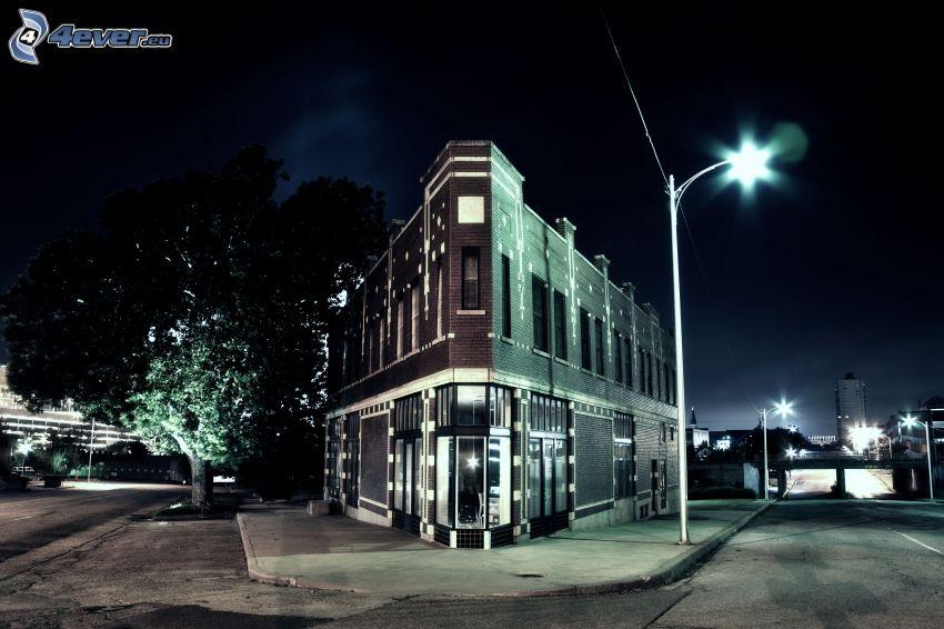 casa, calles, ciudad de noche