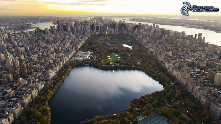 Central Park, New York, lago, Manhattan