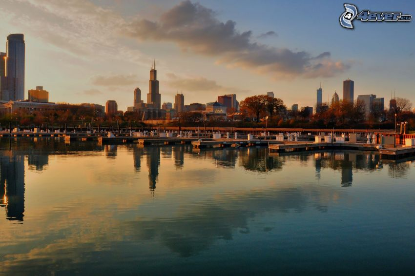 Chicago, atardecer, Willis Tower