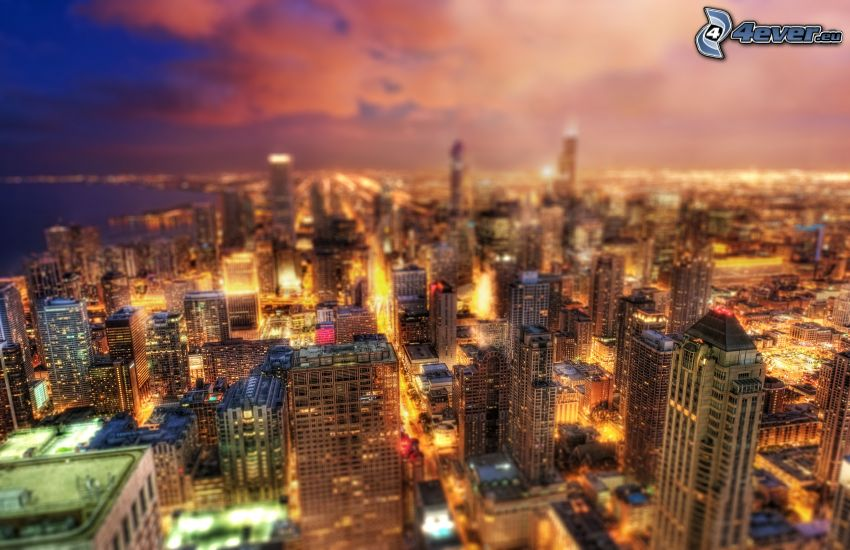 Chicago, ciudad de noche, rascacielos, HDR