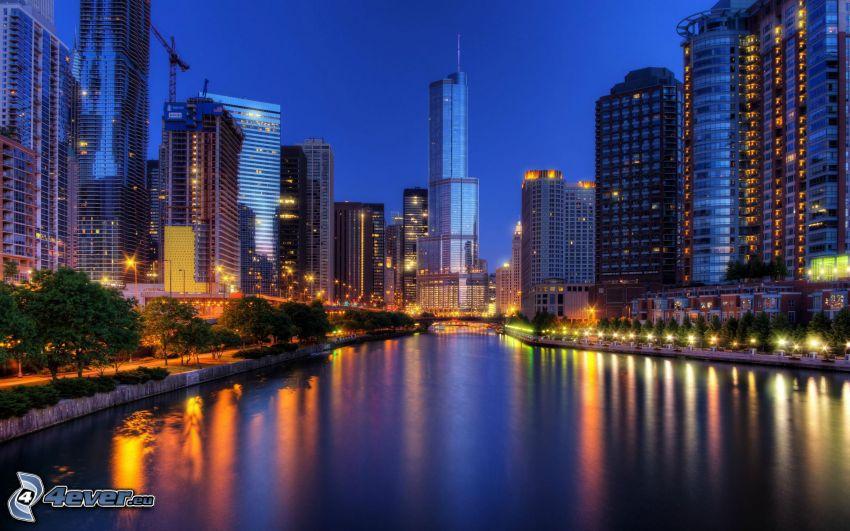 Chicago, ciudad de noche, río