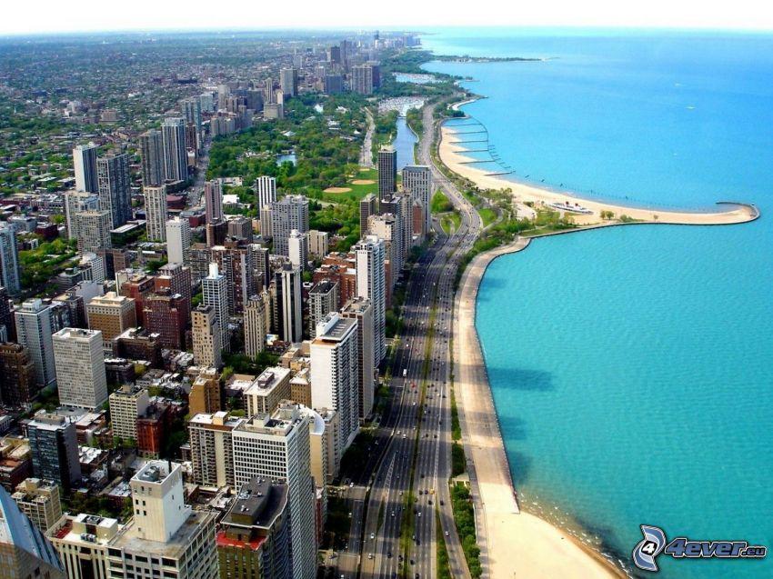 Chicago, Lago Michigan, rascacielos, costa