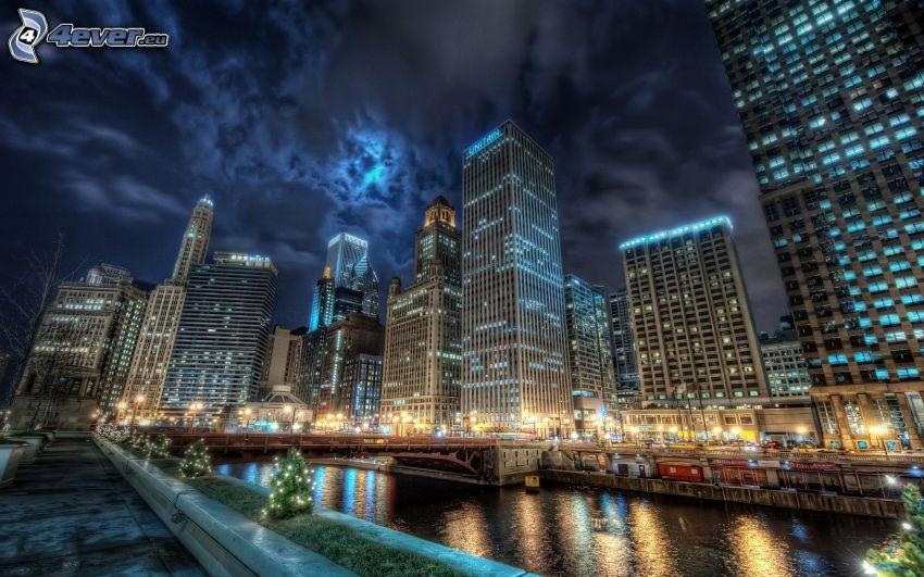 Chicago, rascacielos, ciudad de noche, HDR