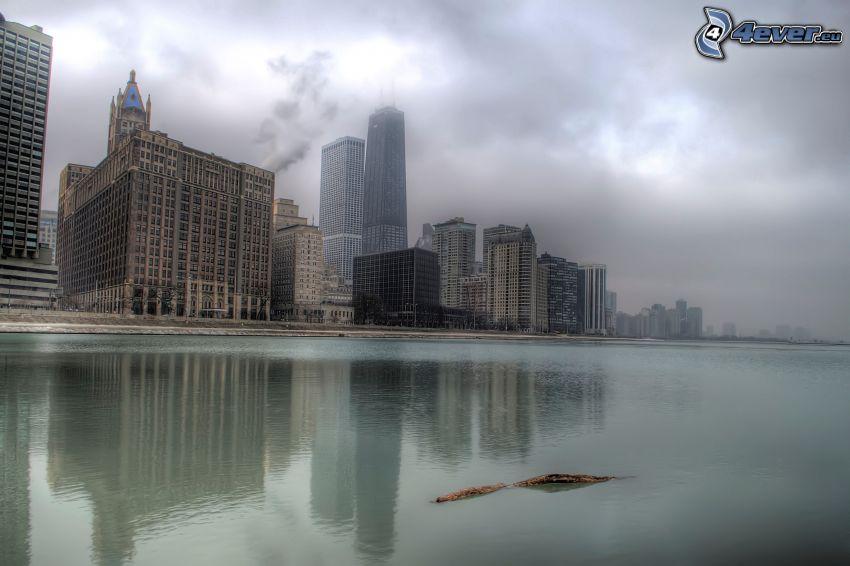 Chicago, río, niebla