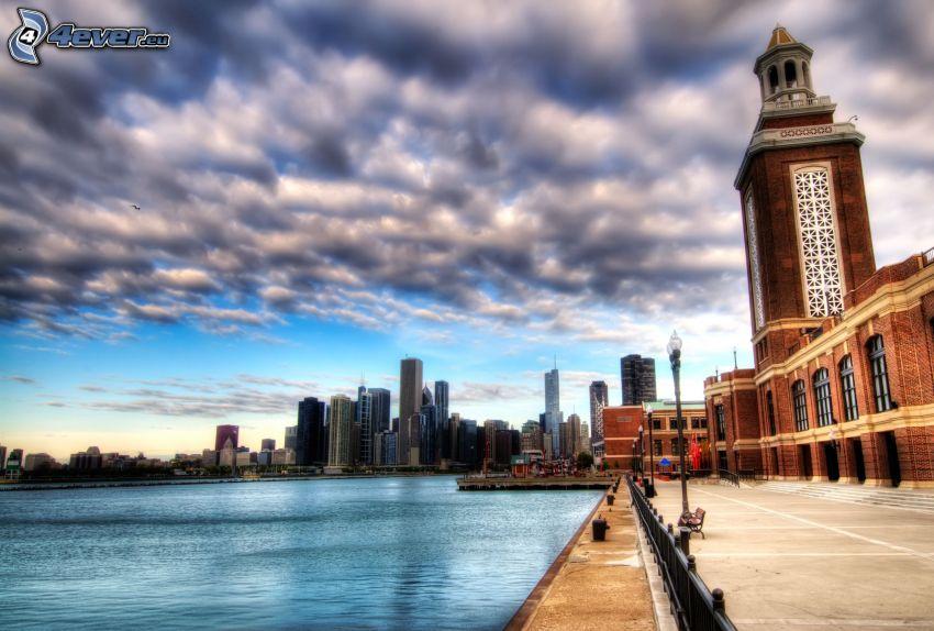 ciudad, río, rascacielos, nubes