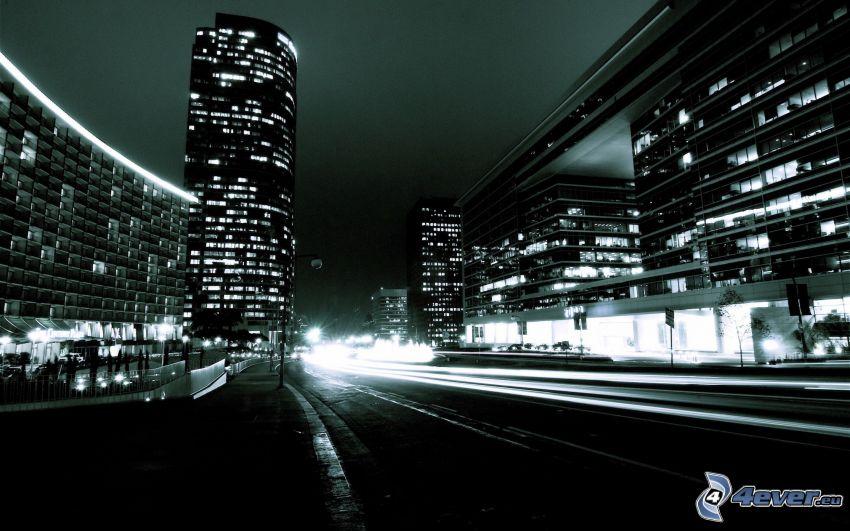 ciudad de noche, rascacielos, camino