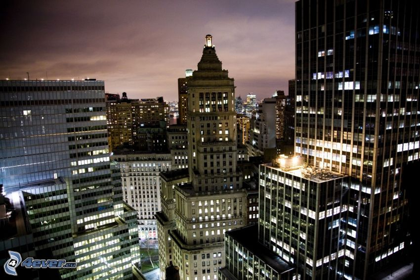 ciudad de noche, rascacielos