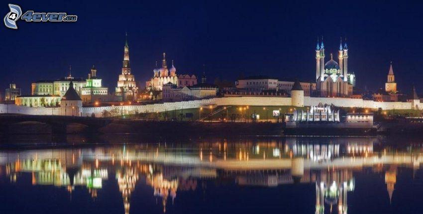 ciudad de noche, reflejo
