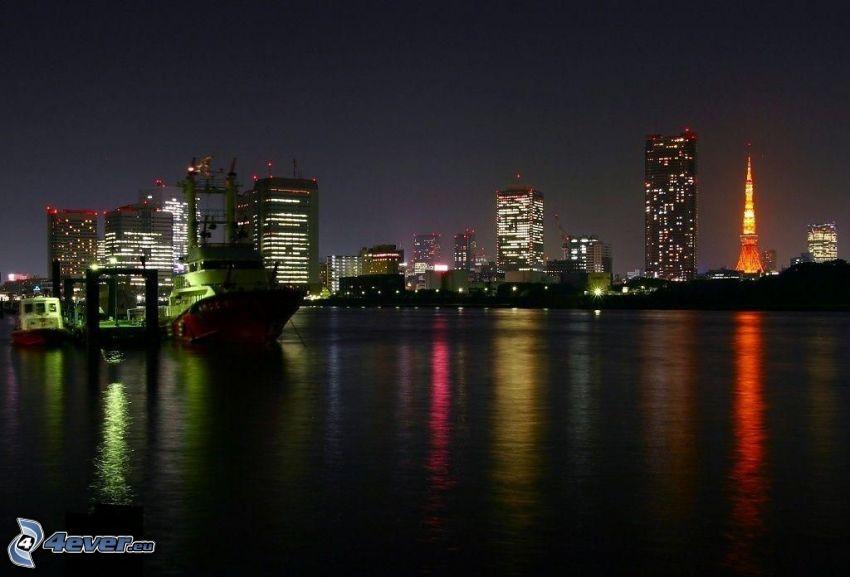 ciudad de noche, río, nave, Tokio, Tokyo Tower