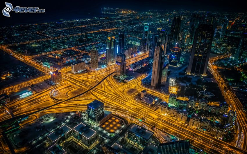 ciudad de noche, vistas a la ciudad