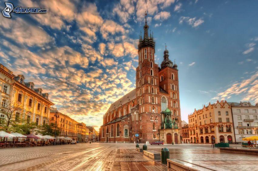 Cracovia, iglesia, plaza, HDR
