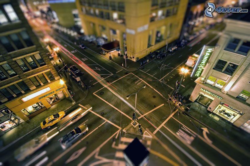 cruce, ciudad de noche, diorama