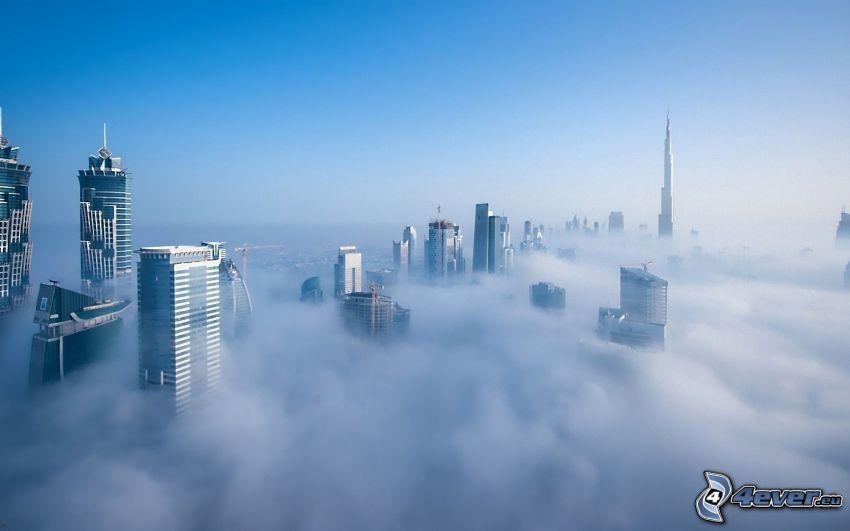 Dubái, rascacielos, niebla baja, inversión térmica, Burj Khalifa