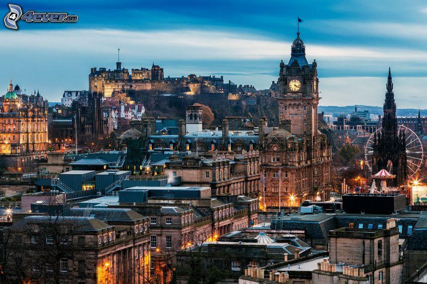 Edimburgo, torre de la iglesia, Castillo de Edimburgo